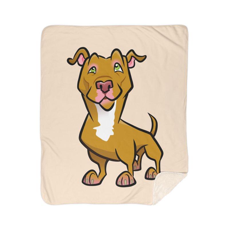 Red Pit Bull Home Sherpa Blanket Blanket by binarygod's Artist Shop