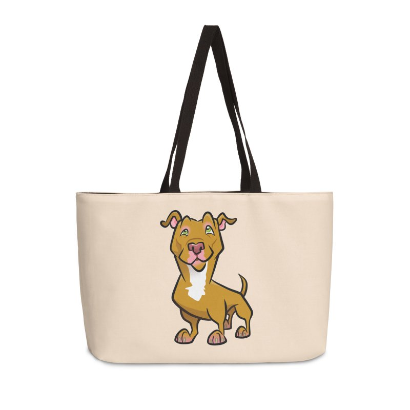 Red Pit Bull Accessories Weekender Bag Bag by binarygod's Artist Shop