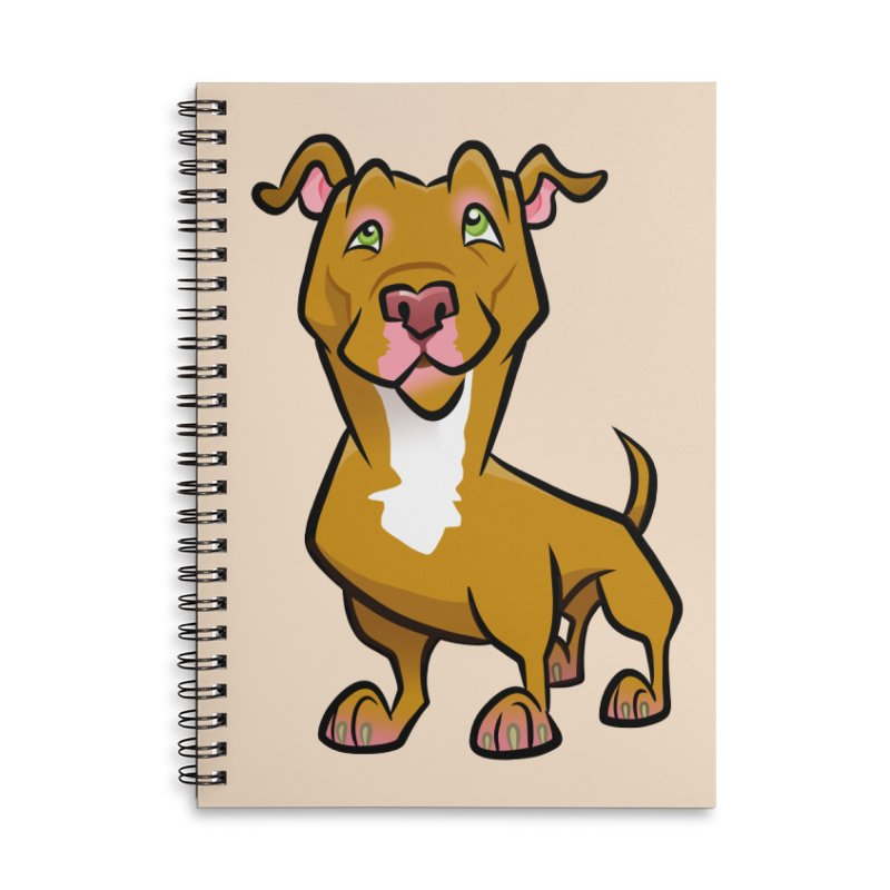 Red Pit Bull Accessories Lined Spiral Notebook by binarygod's Artist Shop