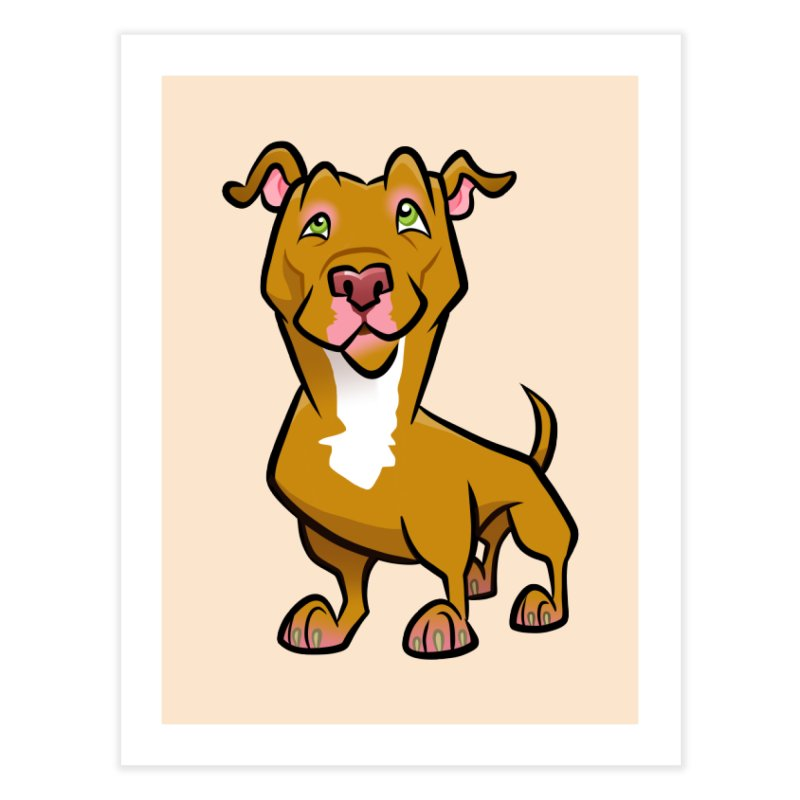 Red Pit Bull Home Fine Art Print by binarygod's Artist Shop