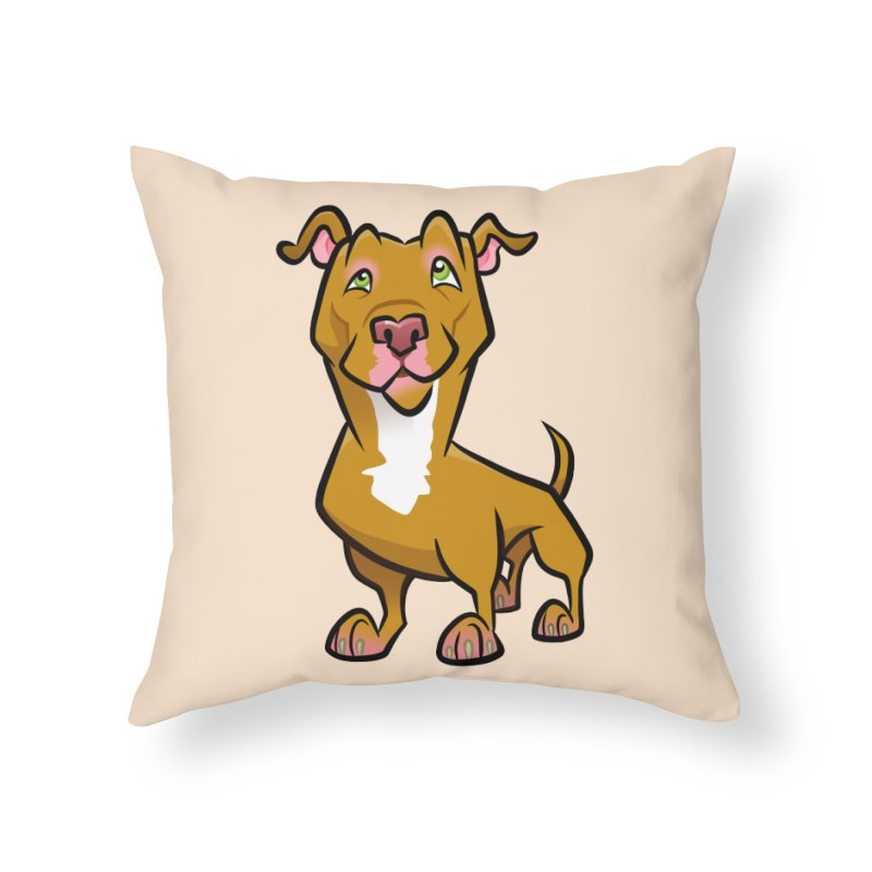 Red Pit Bull Home Throw Pillow by binarygod's Artist Shop
