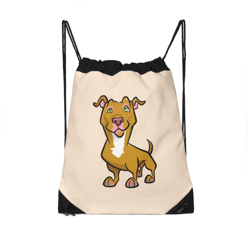 Red Pit Bull Accessories Drawstring Bag Bag by binarygod's Artist Shop