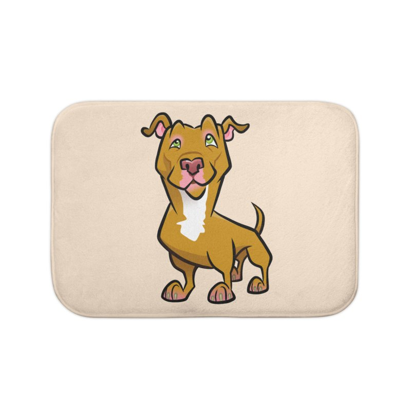 Red Pit Bull Home Bath Mat by binarygod's Artist Shop