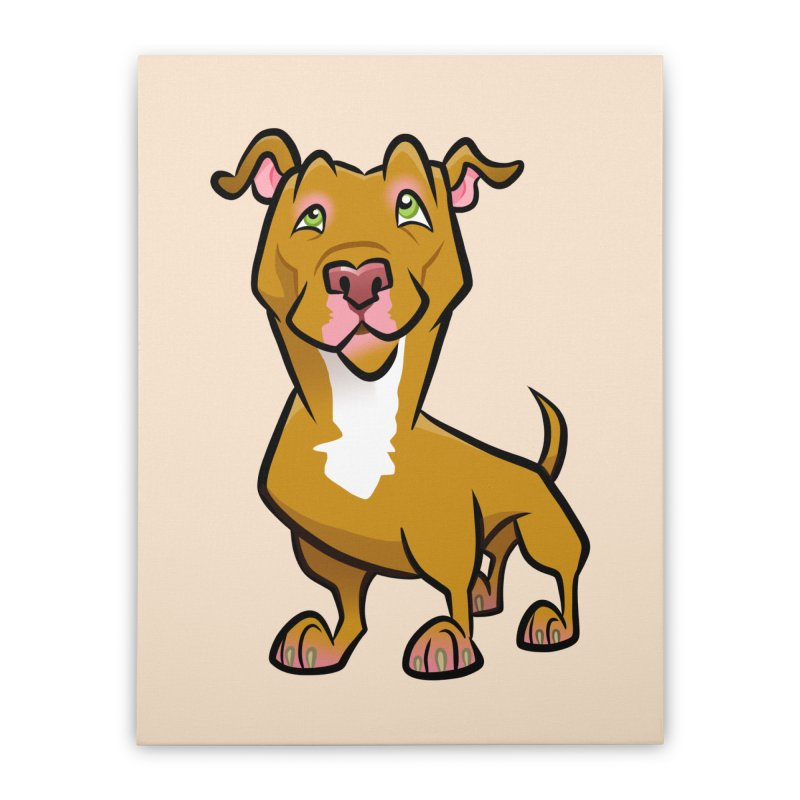Red Pit Bull Home Stretched Canvas by binarygod's Artist Shop