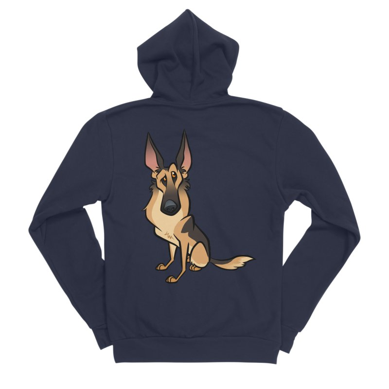 German Shepherd Men's Sponge Fleece Zip-Up Hoody by binarygod's Artist Shop