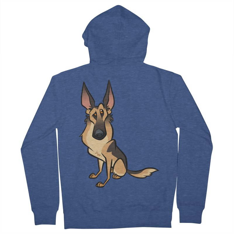 German Shepherd Men's French Terry Zip-Up Hoody by binarygod's Artist Shop