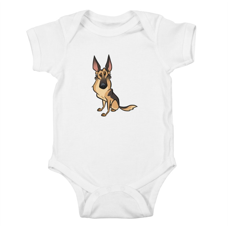 German Shepherd Kids Baby Bodysuit by binarygod's Artist Shop