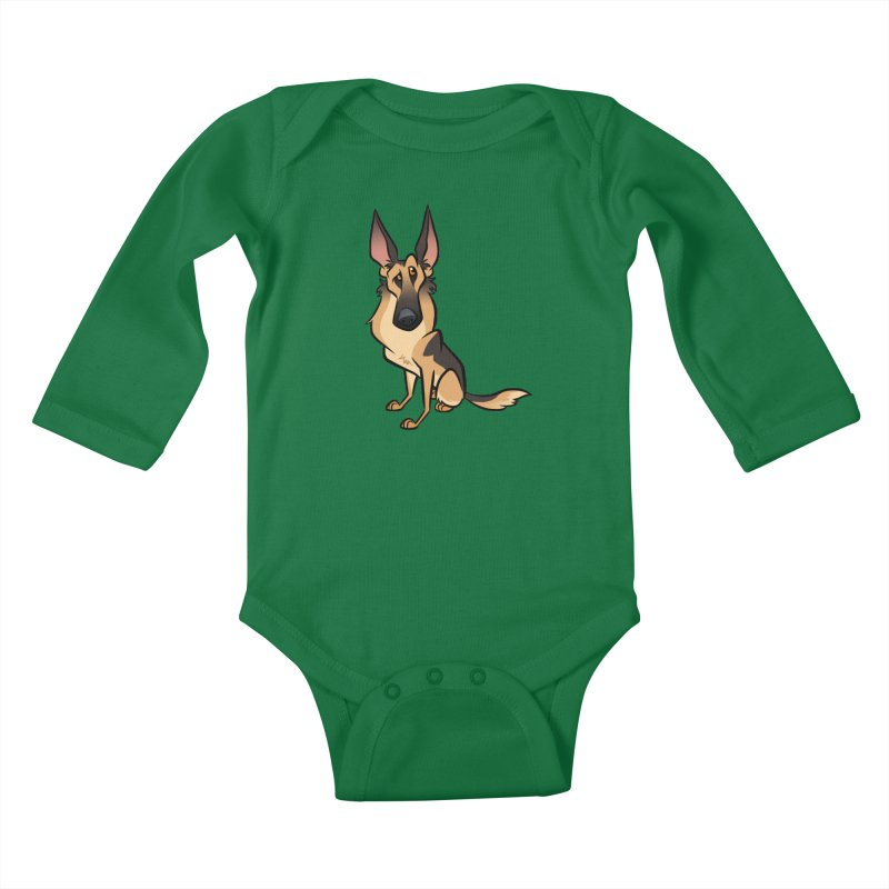 German Shepherd Kids Baby Longsleeve Bodysuit by binarygod's Artist Shop