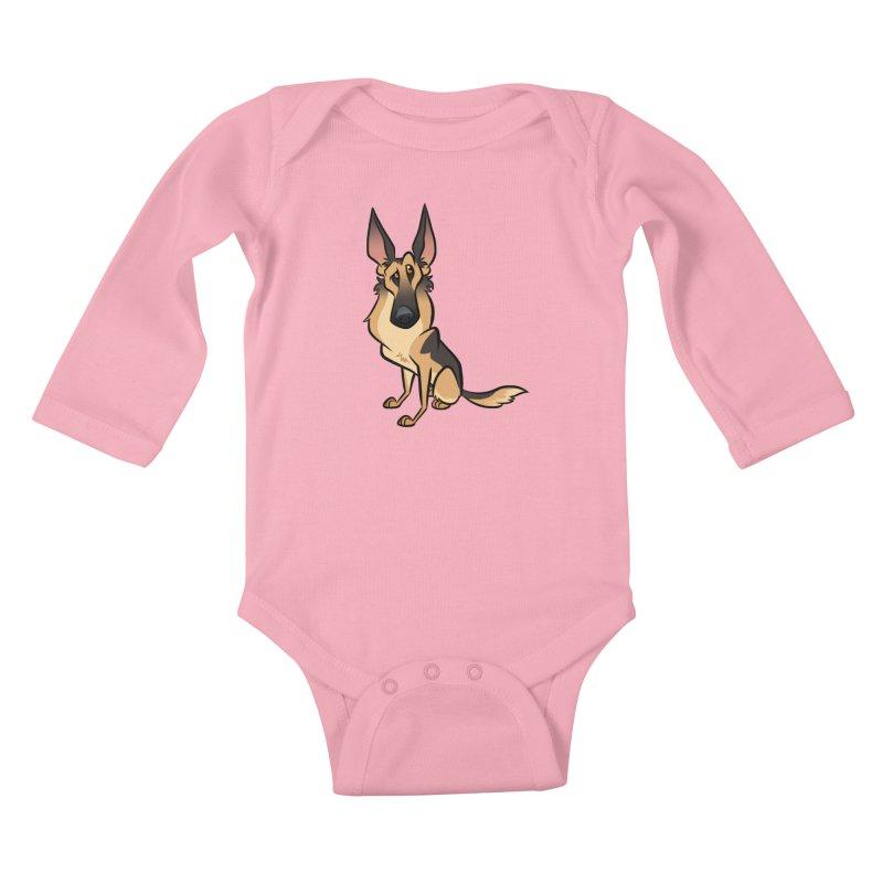 German Shepherd Kids Baby Longsleeve Bodysuit by binarygod's Artist Shop