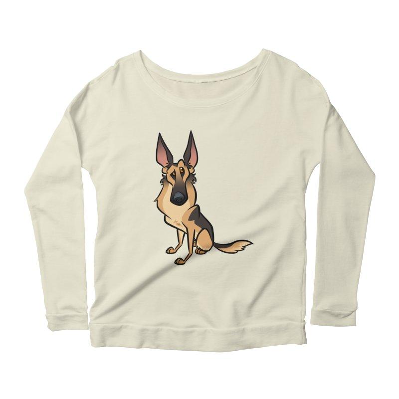 German Shepherd Women's Scoop Neck Longsleeve T-Shirt by binarygod's Artist Shop