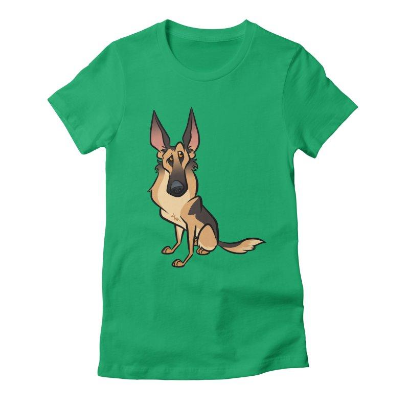 German Shepherd Women's Fitted T-Shirt by binarygod's Artist Shop