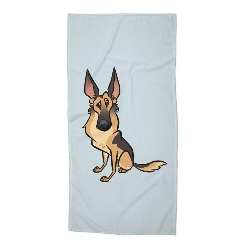 German Shepherd Accessories Beach Towel by binarygod's Artist Shop