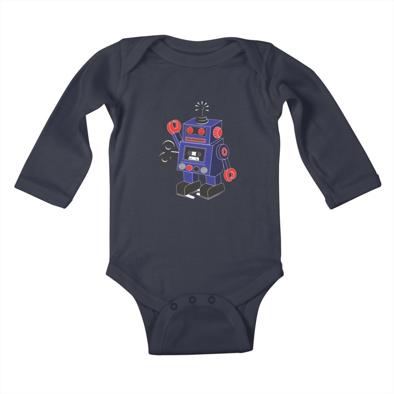 Retro Bot Kids Baby Longsleeve Bodysuit by Slugamo's Threads