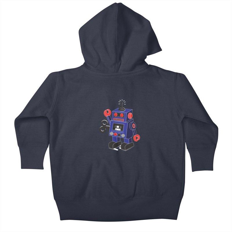 Retro Bot Kids Baby Zip-Up Hoody by Slugamo's Threads