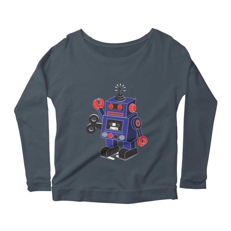 Retro Bot Women's Longsleeve Scoopneck  by Slugamo's Threads