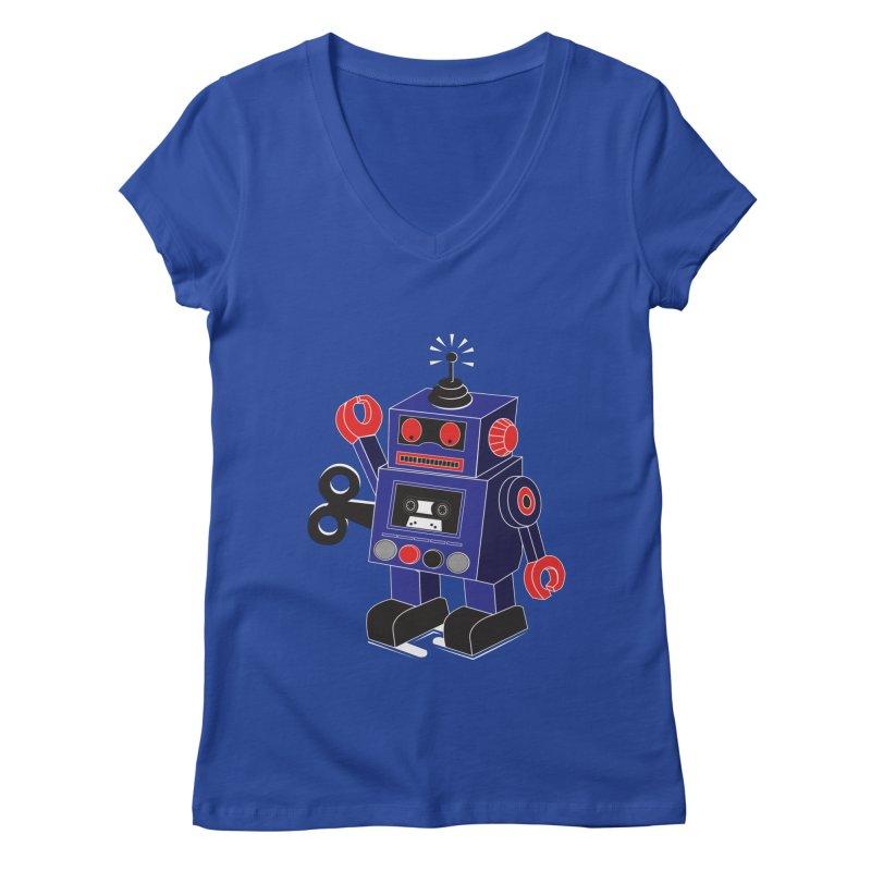 Retro Bot Women's V-Neck by Slugamo's Threads