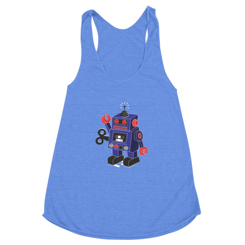 Retro Bot Women's Racerback Triblend Tank by Slugamo's Threads