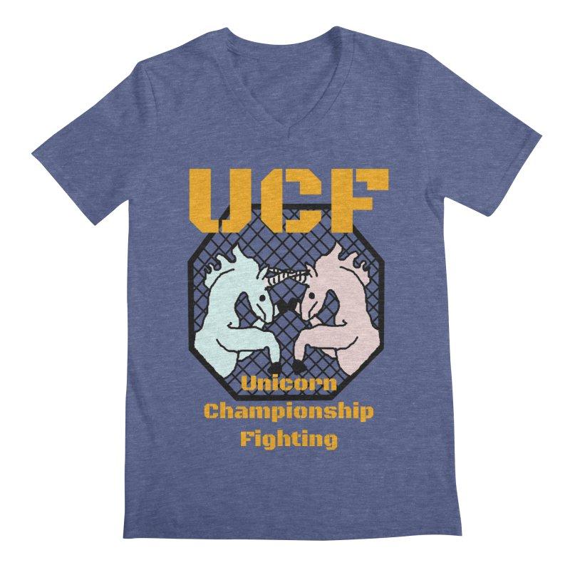 Unicorn Championship Fighting Men's V-Neck by Birchmark