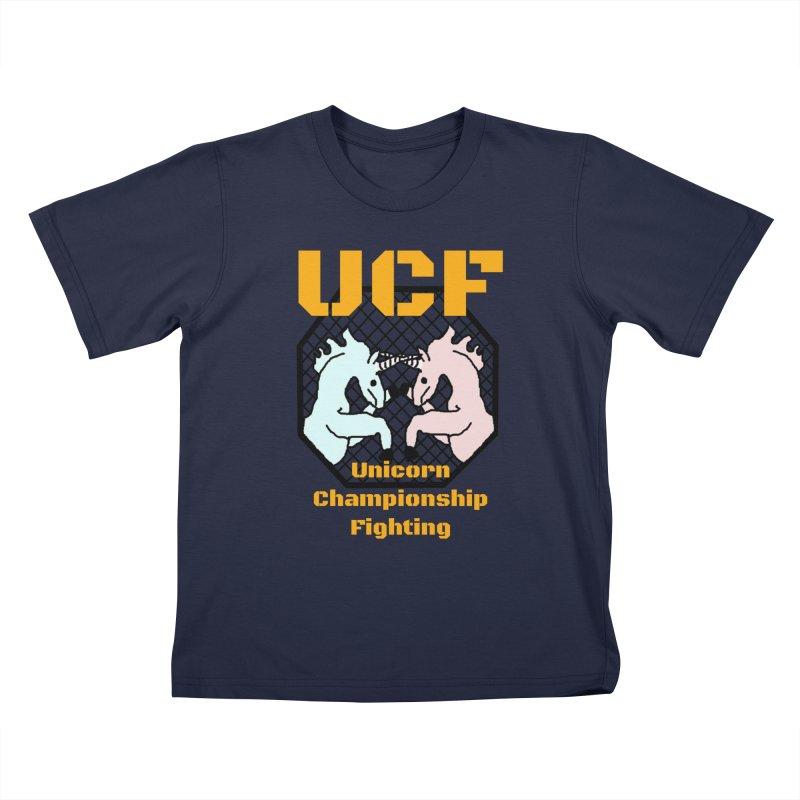 Unicorn Championship Fighting Kids T-Shirt by Birchmark