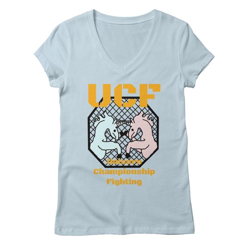 Unicorn Championship Fighting Women's V-Neck by Birchmark