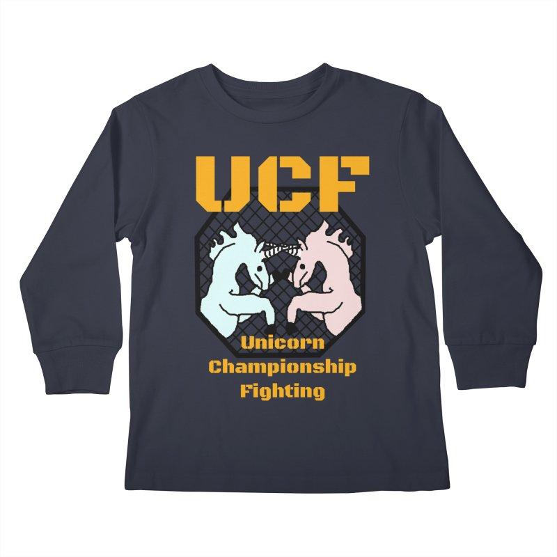 Unicorn Championship Fighting Kids Longsleeve T-Shirt by Birchmark