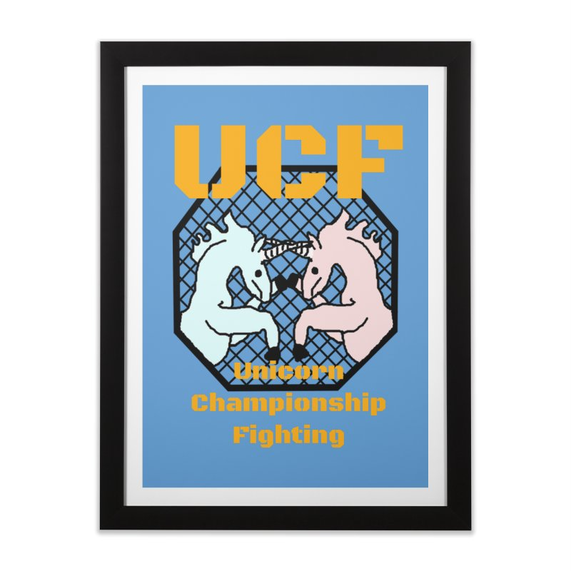 Unicorn Championship Fighting Home Framed Fine Art Print by Birchmark