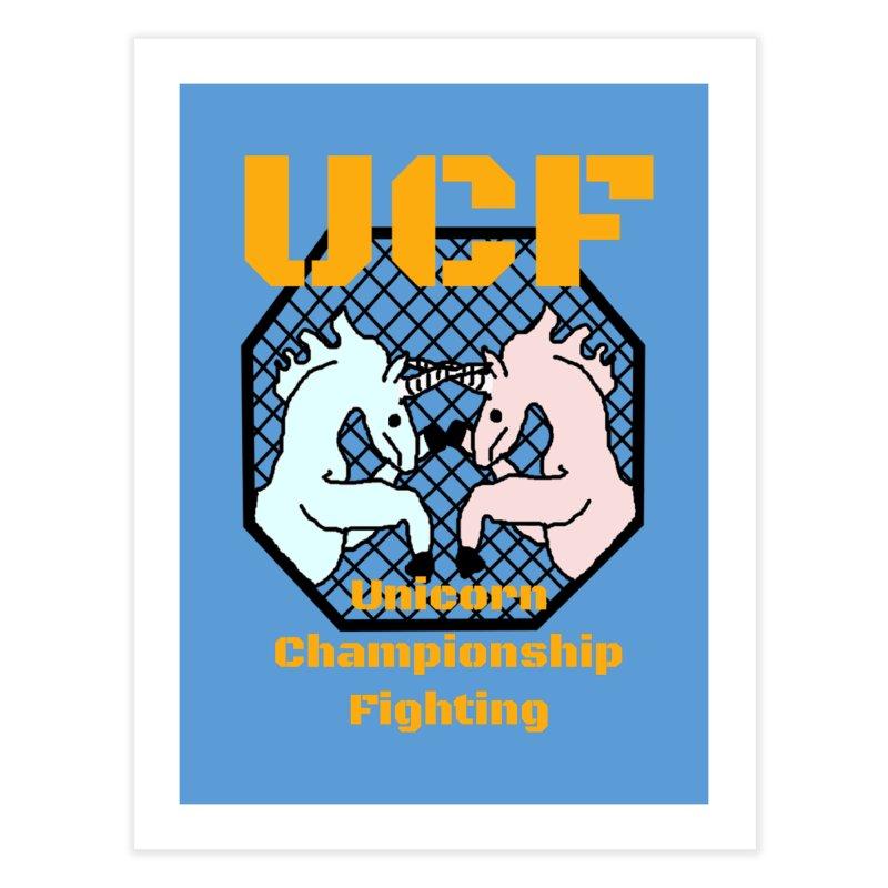 Unicorn Championship Fighting Home Fine Art Print by Birchmark