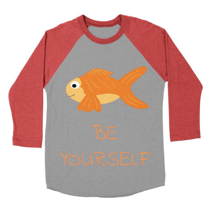 The Be Yourself Fish Men's Baseball Triblend Longsleeve T-Shirt by Birchmark