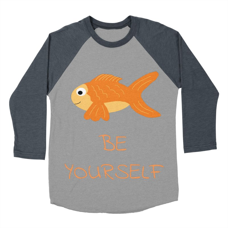 The Be Yourself Fish Men's Baseball Triblend Longsleeve T-Shirt by Birchmark