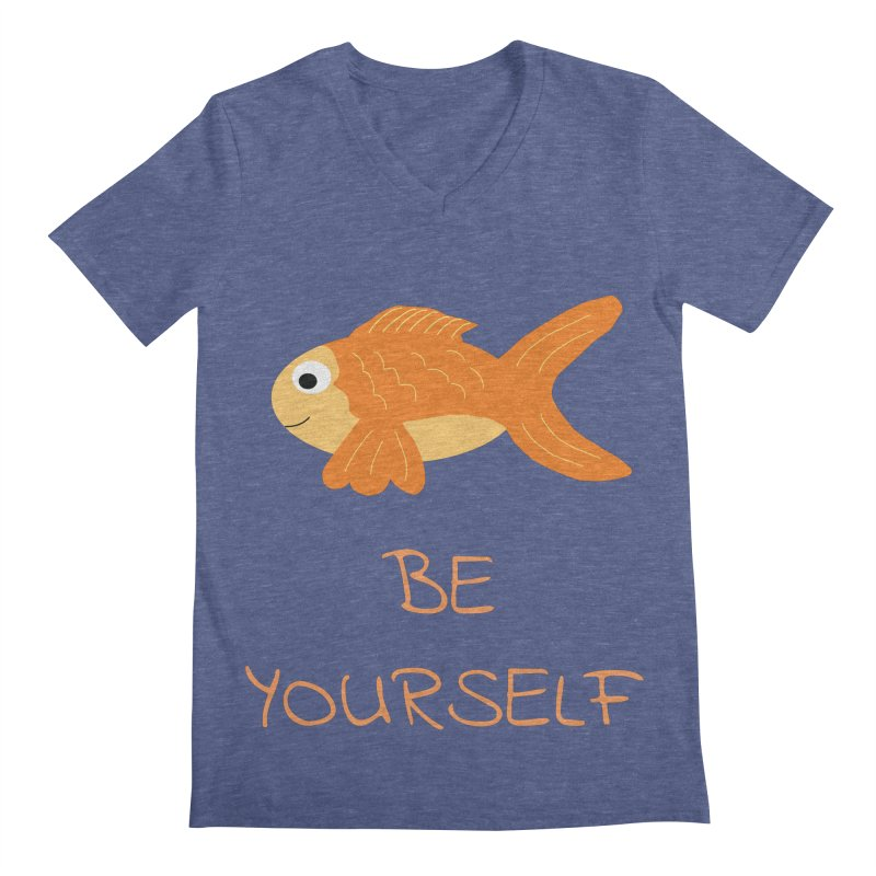 The Be Yourself Fish Men's Regular V-Neck by Birchmark