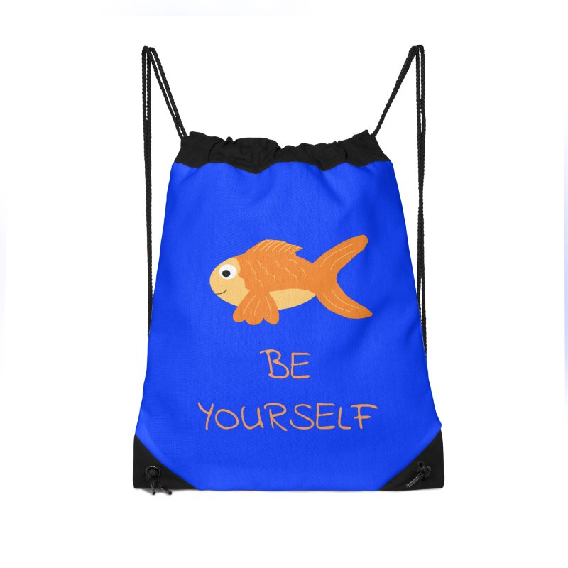 The Be Yourself Fish Accessories Drawstring Bag Bag by Birchmark