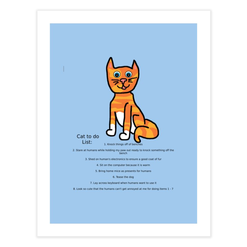 To Do Cat Home Fine Art Print by Birchmark