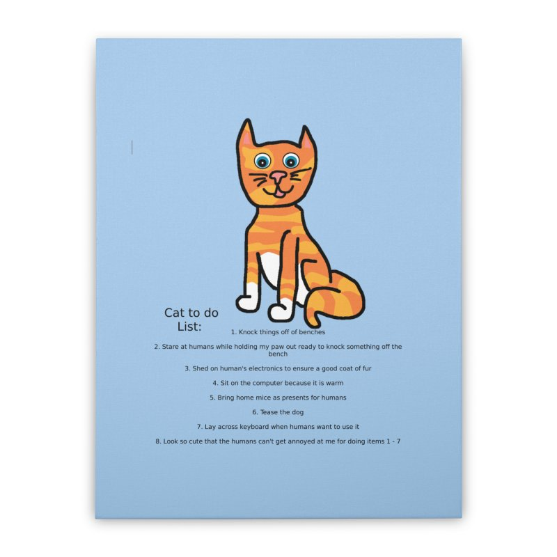 To Do Cat Home Stretched Canvas by Birchmark