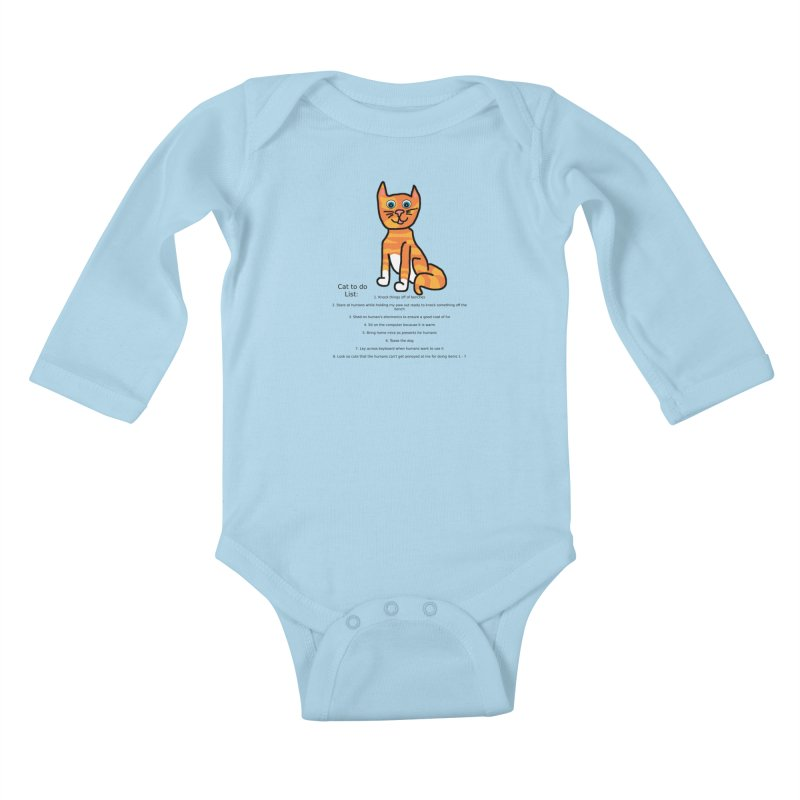 To Do Cat Kids Baby Longsleeve Bodysuit by Birchmark