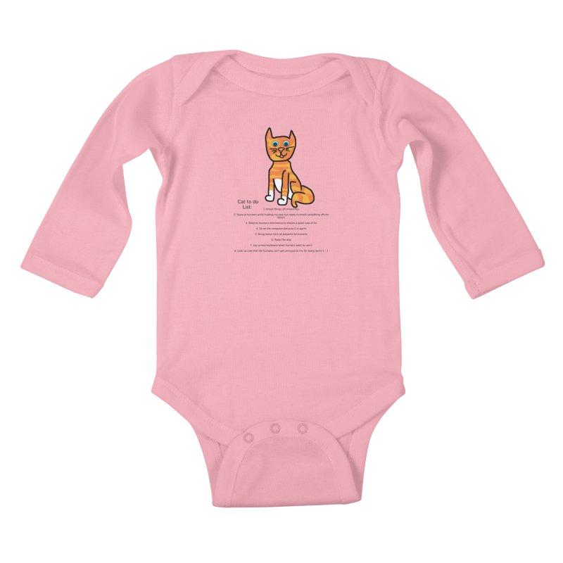 To Do Cat Kids Baby Longsleeve Bodysuit by Birchmark