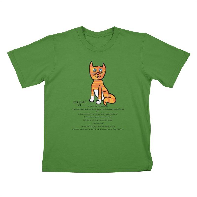 To Do Cat Kids T-Shirt by Birchmark