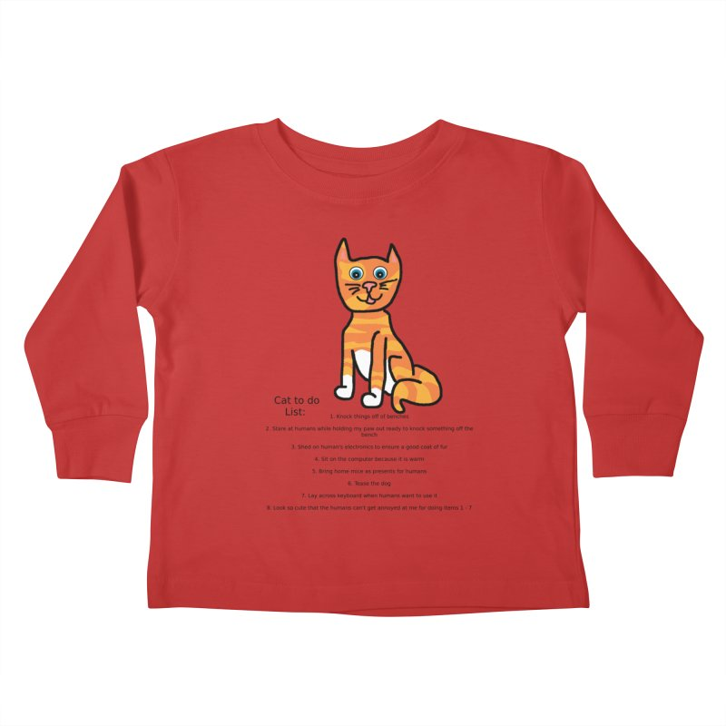 To Do Cat Kids Toddler Longsleeve T-Shirt by Birchmark