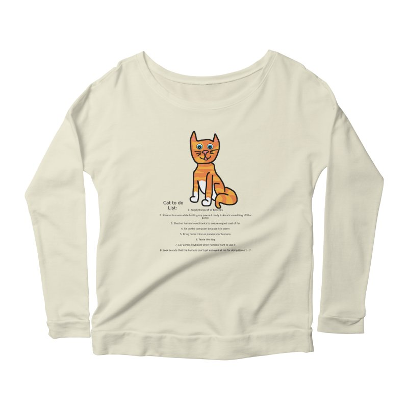 To Do Cat Women's Scoop Neck Longsleeve T-Shirt by Birchmark