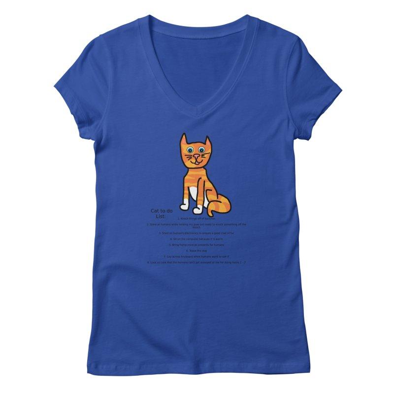 To Do Cat Women's Regular V-Neck by Birchmark