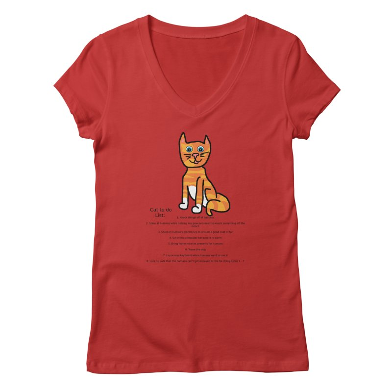 To Do Cat Women's Regular V-Neck by Birchmark