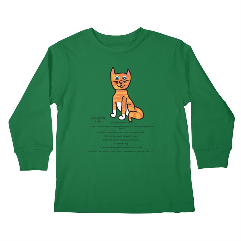 To Do Cat Kids Longsleeve T-Shirt by Birchmark