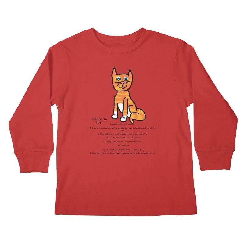 To Do Cat Kids Longsleeve T-Shirt by Birchmark