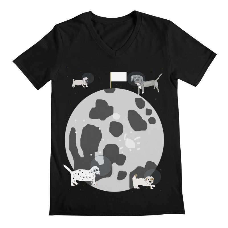 Moon Puppies Men's Regular V-Neck by Birchmark