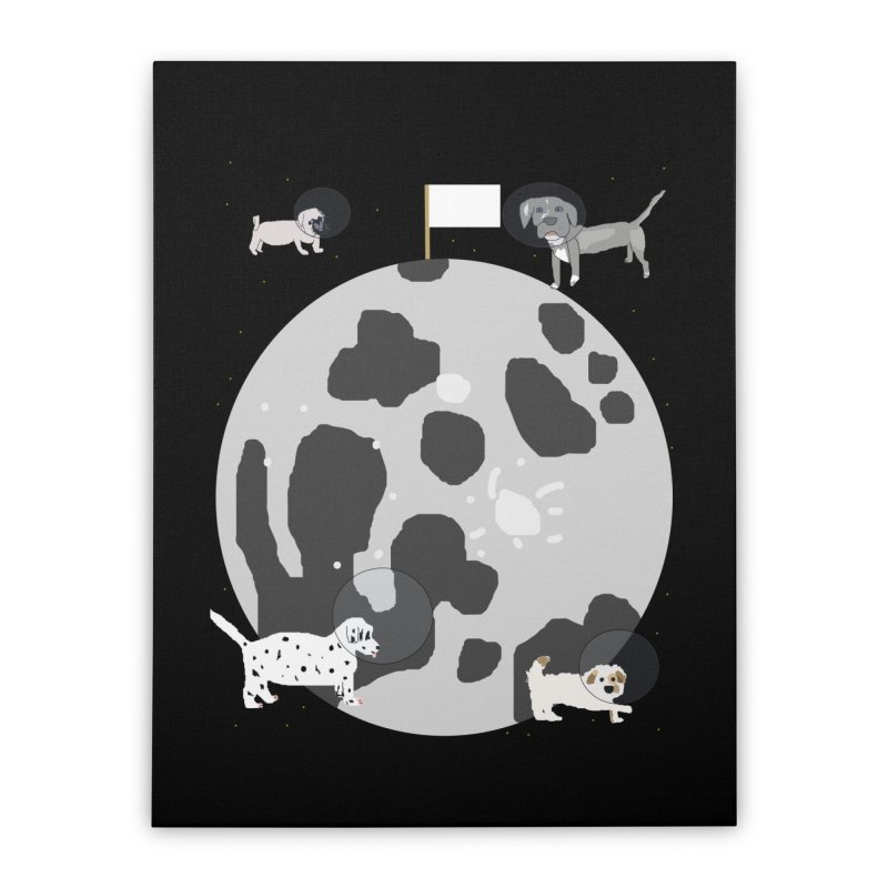 Moon Puppies Home Stretched Canvas by Birchmark
