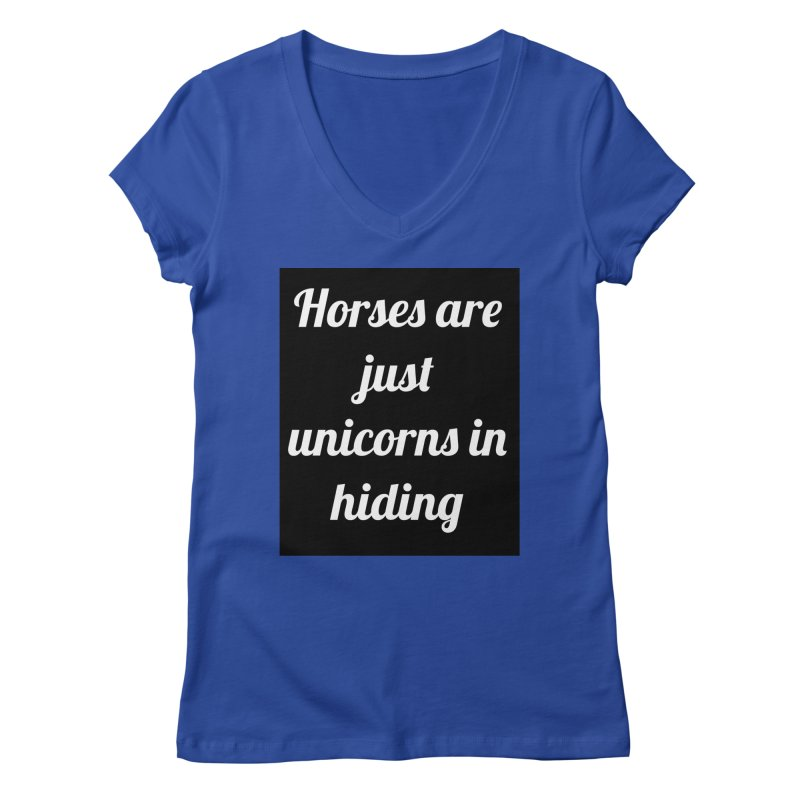 Unicorns in Hiding Women's V-Neck by Birchmark