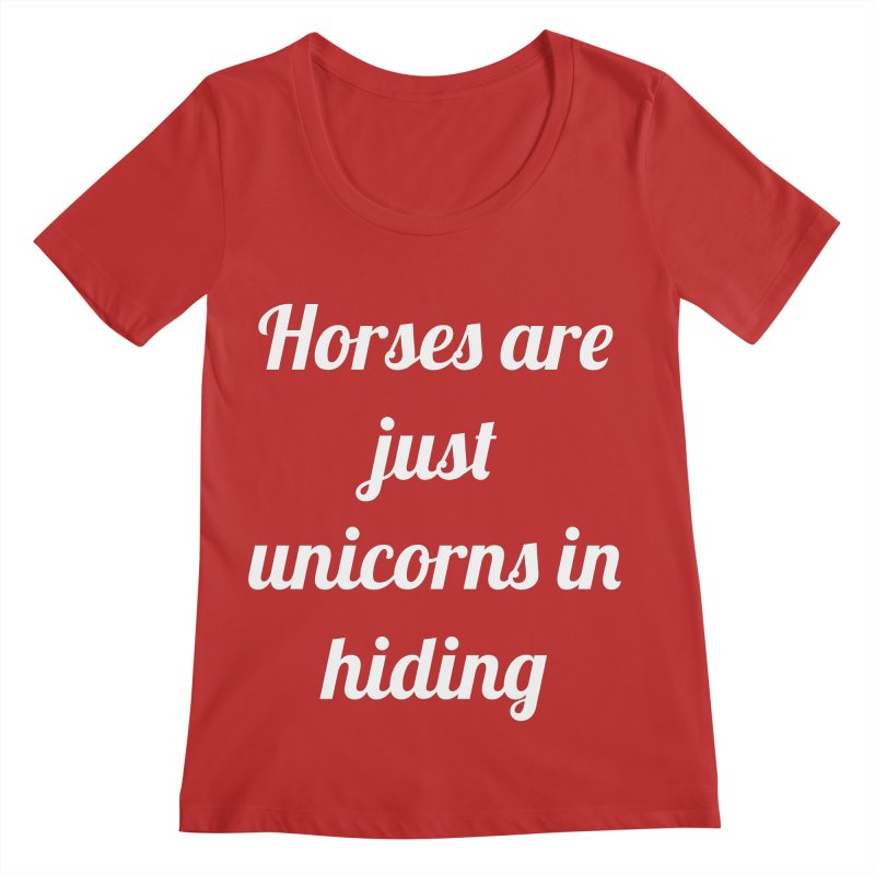 Unicorns in Hiding Women's Regular Scoop Neck by Birchmark