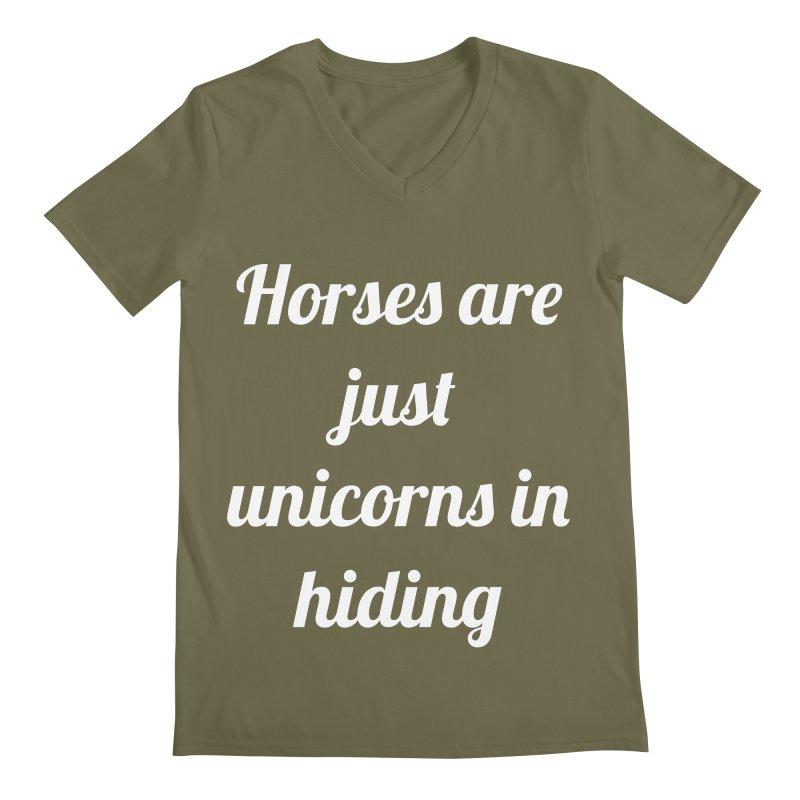 Unicorns in Hiding Men's V-Neck by Birchmark