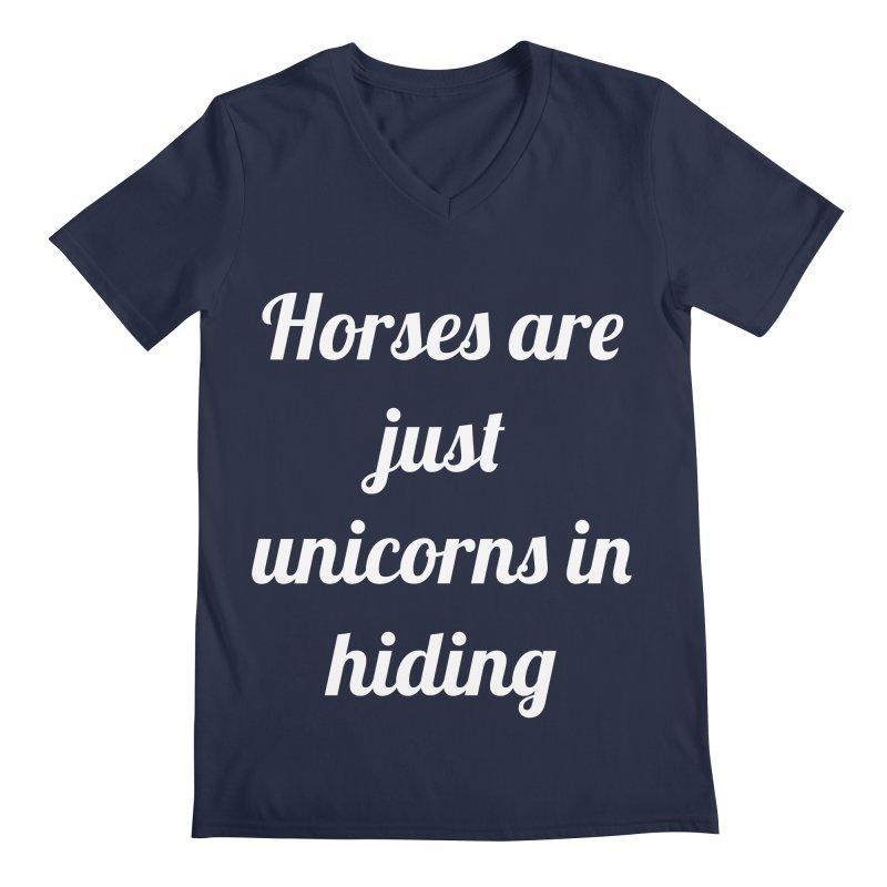 Unicorns in Hiding Men's Regular V-Neck by Birchmark