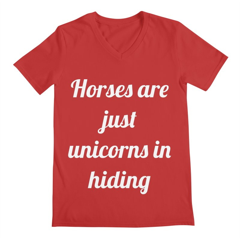 Unicorns in Hiding Men's Regular V-Neck by Birchmark