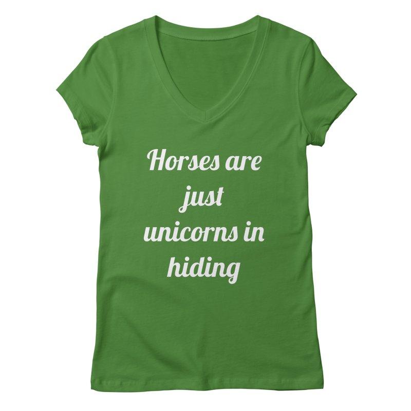 Unicorns in Hiding Women's V-Neck by Birchmark